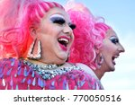 Small photo of AUCKLAND - DEC 02 2017:Two happy Drag queens laughing. According to American Bob The Drag Queen (Christopher Caldwell) drag queens have always been at the forefront of the fight for LGBTQ rights