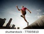 latin american athlete running... | Shutterstock . vector #77005810