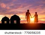 shadow lovers holding hands in...   Shutterstock . vector #770058235