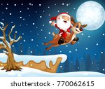 santa claus riding his deer... | Shutterstock . vector #770062615