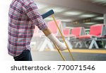 woman using crutches for... | Shutterstock . vector #770071546
