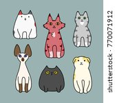 set of cartoon cat sitting | Shutterstock .eps vector #770071912