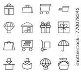thin line icon set   gift ... | Shutterstock .eps vector #770078242