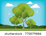 landscape and beautiful living...   Shutterstock .eps vector #770079886