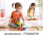 kids children playing block...   Shutterstock . vector #770084578
