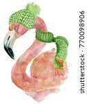 christmas pink flamingo with... | Shutterstock . vector #770098906
