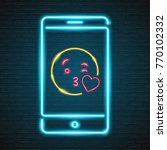emoji love with phone neon... | Shutterstock .eps vector #770102332