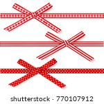 set of decorative red bows with ... | Shutterstock .eps vector #770107912