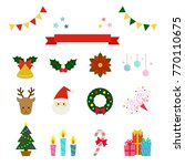 set of christmas icons   vector ...