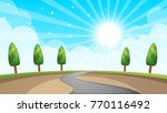 cartoon landscape  road  sun ... | Shutterstock .eps vector #770116492