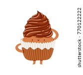 chocolate cupcake vector... | Shutterstock .eps vector #770122222