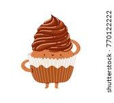 chocolate cupcake vector... | Shutterstock .eps vector #770122222