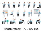 smiling businessman working set ... | Shutterstock .eps vector #770129155