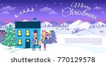 merry christmas web banner of... | Shutterstock .eps vector #770129578