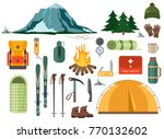mountain hike winter ski hiking ... | Shutterstock .eps vector #770132602