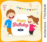 happy birthday with friends... | Shutterstock .eps vector #770134648