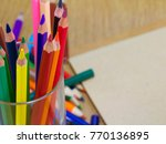 colorful crayon in the water... | Shutterstock . vector #770136895