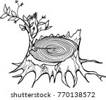 black and white stump drawing... | Shutterstock .eps vector #770138572