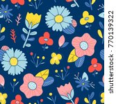 abstract happy flowers blue...   Shutterstock .eps vector #770139322
