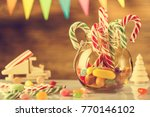 greeting card. merry christmas... | Shutterstock . vector #770146102