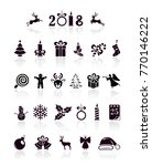 set of black christmas and new... | Shutterstock . vector #770146222