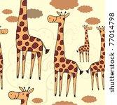 giraffes and clouds. seamless... | Shutterstock .eps vector #77014798
