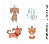 hand drawn winter holidays... | Shutterstock .eps vector #770151736