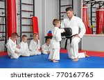 male karate instructor training ... | Shutterstock . vector #770167765