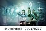 group of people operating... | Shutterstock . vector #770178232