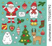 set of christmas elements.... | Shutterstock .eps vector #770185792