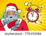 christmas pop art face. wow... | Shutterstock .eps vector #770192086