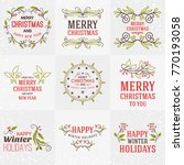 set of merry christmas and... | Shutterstock .eps vector #770193058