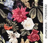 seamless floral pattern with... | Shutterstock . vector #770203432