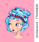 hairstyle of whipped cream.... | Shutterstock .eps vector #770206828