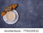 cappuccino and croissants for... | Shutterstock . vector #770210512