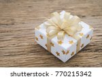 close up of white gif box with... | Shutterstock . vector #770215342