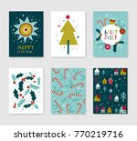 collection of 6 christmas card... | Shutterstock .eps vector #770219716