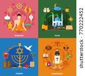 four squares religions icon set
