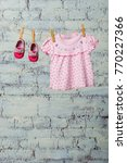 baby pink dress and red shoes... | Shutterstock . vector #770227366