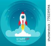 startup   flat design. rocket... | Shutterstock .eps vector #770239546