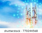 telecommunication tower.digital ... | Shutterstock . vector #770244568