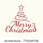 simple christmas card with... | Shutterstock .eps vector #770244706
