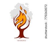 vector burning tree. creative... | Shutterstock .eps vector #770263072