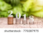 2018 new year on coins stack... | Shutterstock . vector #770287975