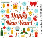 happy new year. merry christmas.... | Shutterstock .eps vector #770290855