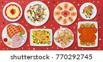 holiday dishes. sandwiches with ... | Shutterstock .eps vector #770292745
