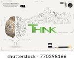 brain   pencil sketch   icon... | Shutterstock .eps vector #770298166