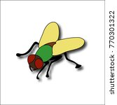 cartoon fly  insect with bright ... | Shutterstock .eps vector #770301322
