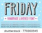 hand drawn doodle 3d outline... | Shutterstock .eps vector #770303545
