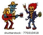 funny skeleton playing guitar...   Shutterstock .eps vector #770310418